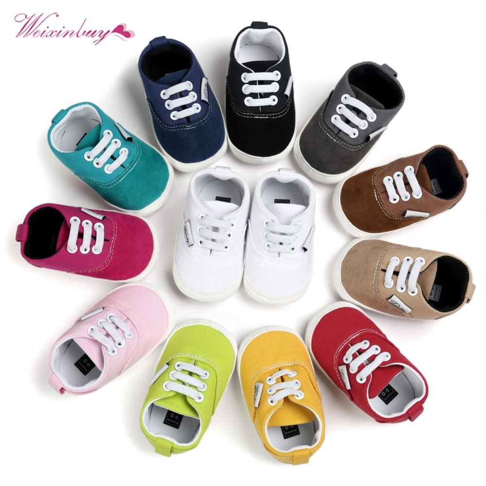 WEIXINBUY Baby Shoes Breathable Canvas Shoes 0-18 Months Boys Shoes 12Color Girls Baby Sneakers Kids Toddler Shoes