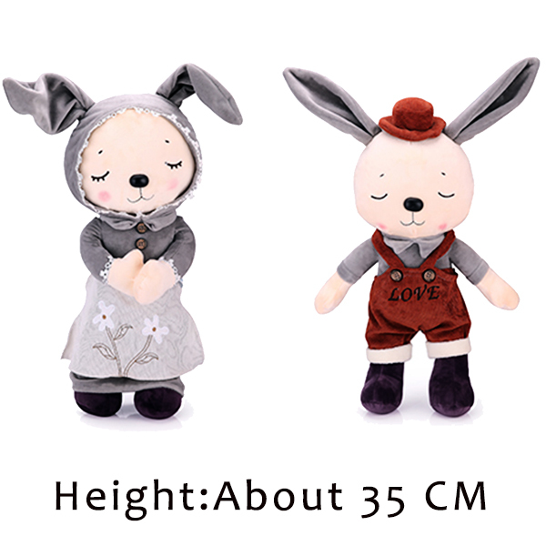 1 pair Mini Sleeping Rabbit-Couple Soft Stuffed Plush Animal Toys for Boys & Girls Kwaii Present to Girlfriend Gift 35CM