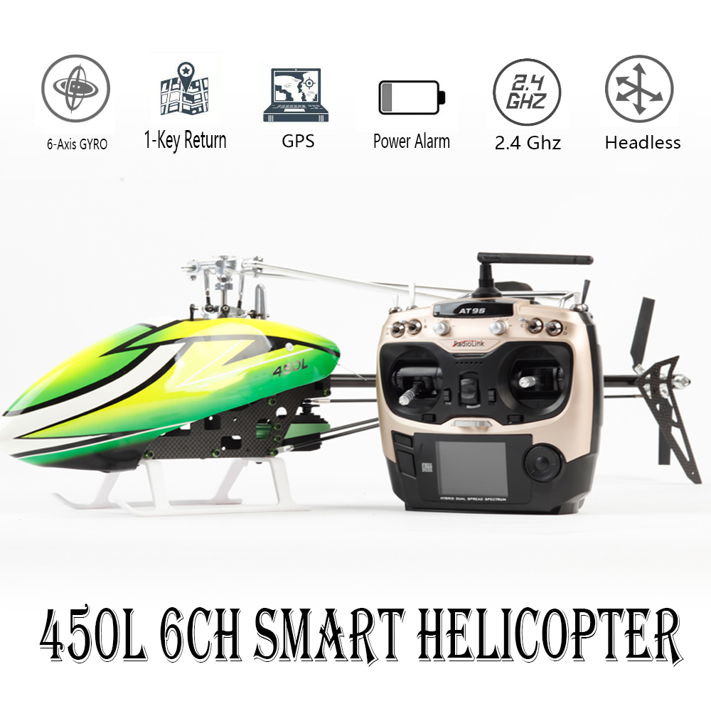 JCZK 6CH Smart 450L RC Helicopter RTF Helicopter GPS Blushless Aircraft AT9S 6CH Single Propeller Aileronless