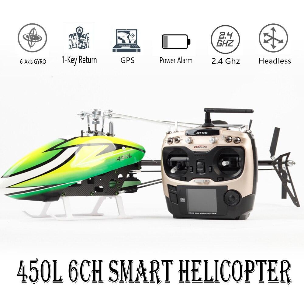 JCZK 6CH Smart 450L RC helicóptero RTF helicóptero GPS avión sin Blushless AT9S 6CH hélice simple aillonless Drone modelo de juguete
