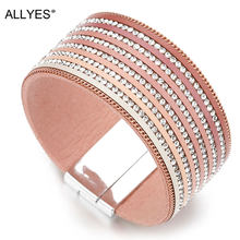 ALLYES Gradient Color Leather Bracelets for Women Femme Crystal Lined Boho Wide Wrap Bracelets & Bangles Bracelet Female Jewelry(China)