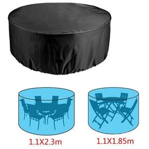 Image 5 - 2 גדלים עגול כיסוי עמיד למים חיצוני פטיו גן ריהוט מכסה גשם שלג כיסא כיסויי ספה שולחן כיסא אבק הוכחה קוב