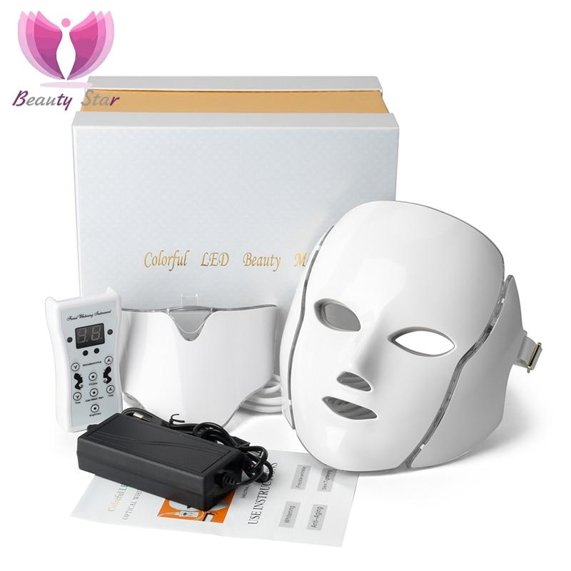 7 Color LED Facial Neck Mask With EMS Microelectronics  LED Photon Mask Wrinkle Acne Removal Skin Rejuvenation Face Beauty Spa Ёмкости для напитков с краном