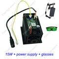 Focusable 15 W cabezal láser DIY Módulo de diodo de corte máquina de grabado cnc 450nm 15000 mw 15 w TTL