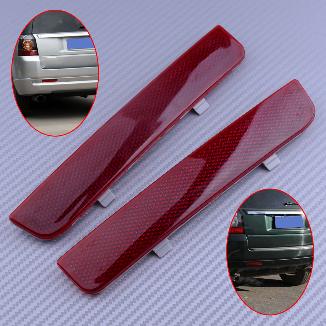 beler 1 Pair Rear Left /& Right Bumper Red Reflector Fit For Land Rover Range Rover L322 Freelander LR2 LR006349 LR006348
