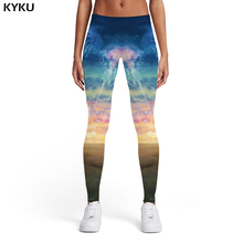 KYKU Jellyfish Leggings Women Animal Printed pants Colorful Leggins Psychedelic Elastic Fantasy Trousers Womens Pants