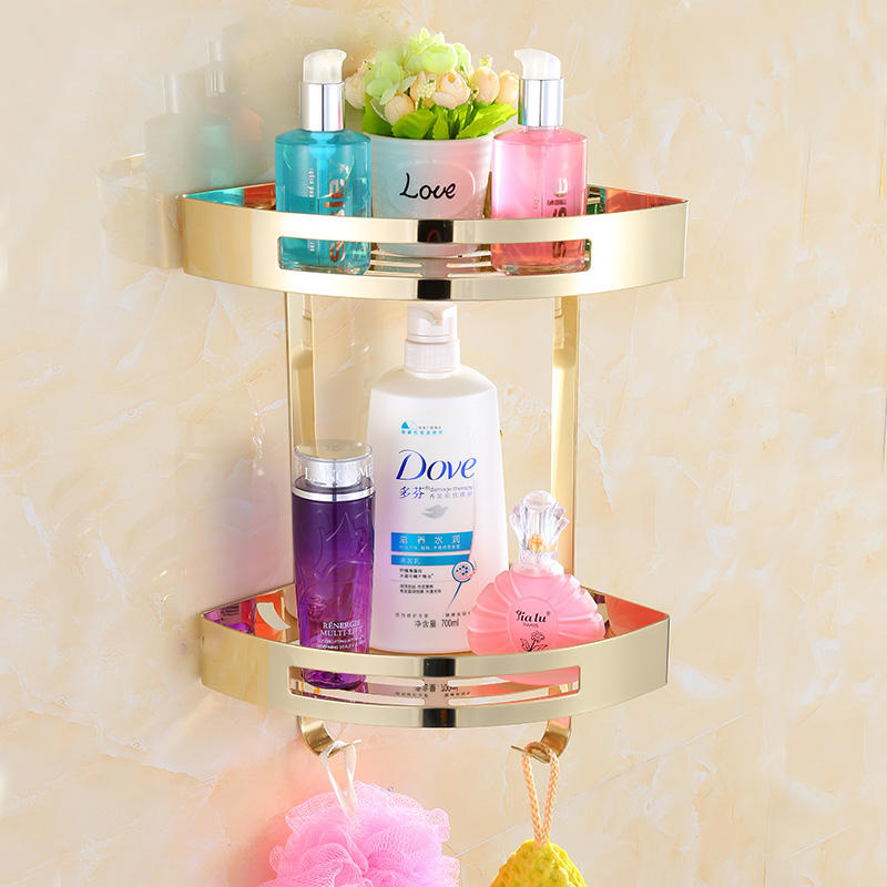 Bathroom Shelves Stainless Steel 2 Tiers Corner Shelf Shower Caddy Storage Shampoo Basket Wall Kitchen Corner Sticky Holder 9287 vehhe kitchen basket bathroom rack sector corner wall shelf plastic shower shampoo holder storage shelves multifunctions ve226
