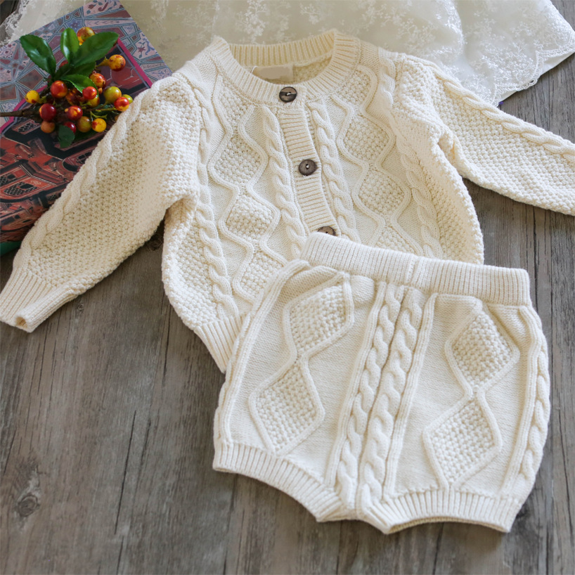 Baby Boys Girls Knitted Sweater Outfits Tops and Shorts 2pcs Sets Toddler Baby Autumn Winter Knitting