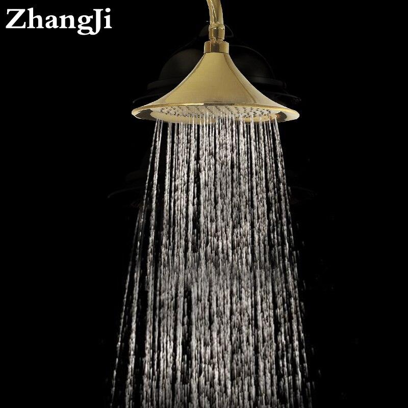 free shipping quality high pressure rain shower head chrome rainfall shower head round gold shower head nozzle ZJ036