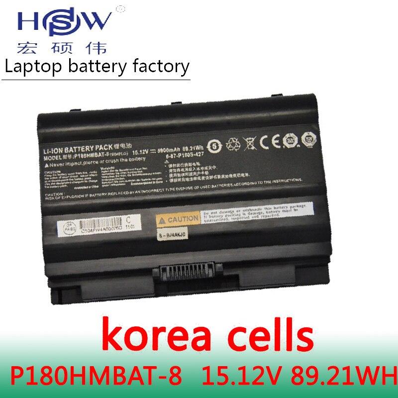 HSW 14.8V 89.2WH Battery F0r CLEVO Terrans Force earth P180S 6-87-P180S-427,P180HMBAT-3,P180HMBAT-8 bateria akku origianl clevo 6 87 n350s 4d7 6 87 n350s 4d8 n350bat 6 n350bat 9 laptop battery