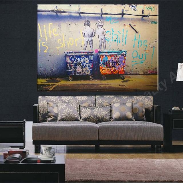 La vida es corta BANKSY lienzo pintura de pared cuadros para la sala ...