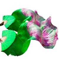 wholesale 1pc right fans+1 pc left fans 5 size*0.9m(XX*35) hand painted belly dance silk fan veil, green color mix color