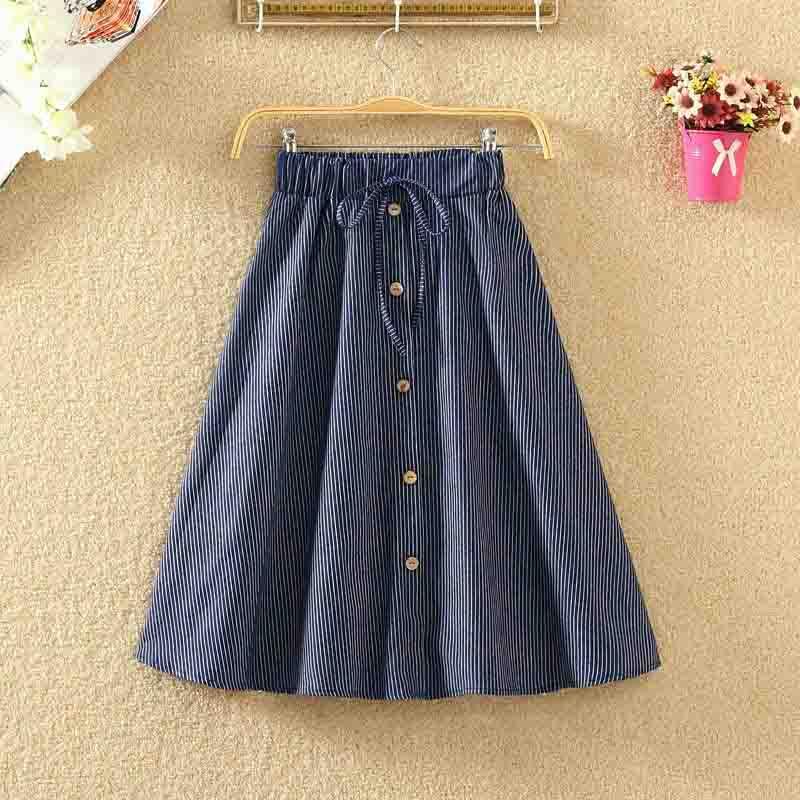 ROPALIA Vintage Retro High Waist Pleated Midi Skirt Fashion Women Skirt Denim Single Breasted Skirt