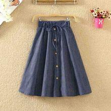 ROPALIA Vintage Retro High Waist Pleated Midi Skirt Fashion Women Skirt