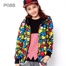 PASS 2017 New Arrival Autumn Women Fashion Short Zipper Pocket Printing Loose Casual Cartoon Pattern Female Coat