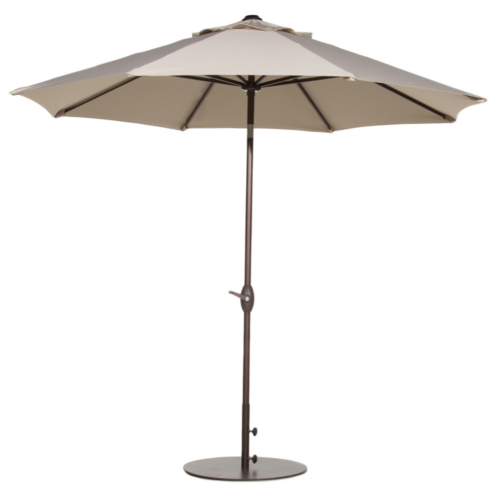 Abba Patio 9 Ft Outdoor Table Aluminum Patio Umbrella with Auto Tilt and Crank Alu. 8 Ribs Beige abba patio outdoor porch rectangular table and chair set cover water proof all weather protection tan 108 l x 82 w x 36 h