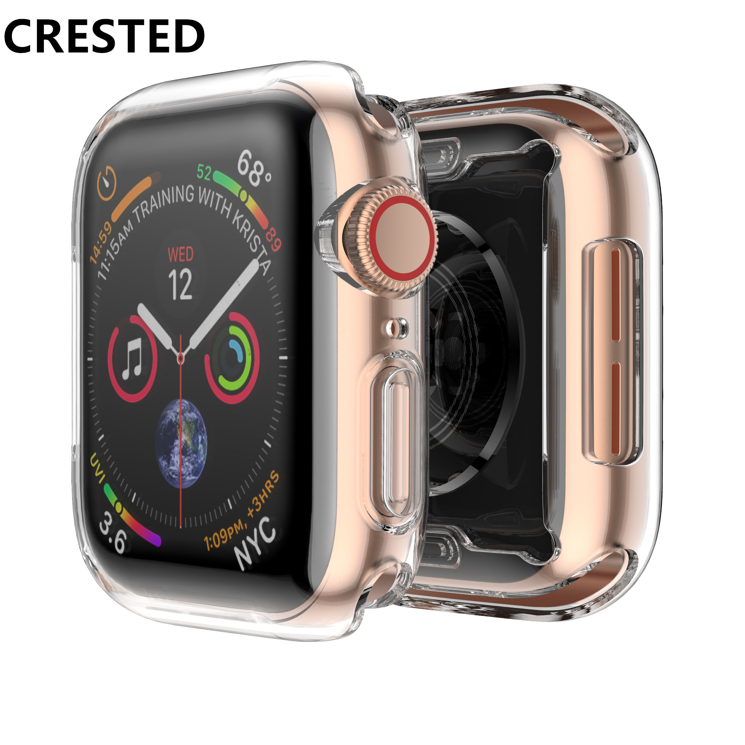 CRESTED Silicone Cover case For Apple Watch band 4 44mm 40mm screen protector iwatch 3 2 1 42mm/38mm soft Ultra-thin Clear frameCRESTED Silicone Cover case For Apple Watch band 4 44mm 40mm screen protector iwatch 3 2 1 42mm/38mm soft Ultra-thin Clear frame