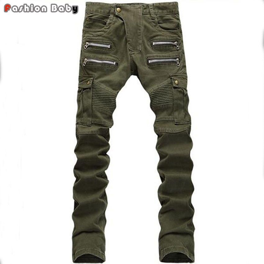 ФОТО Men's Multi-pockets Patchwork Army Green Jeans Pant Slim fit Fashion Cool Straight Military Pencil Jeans Hot New