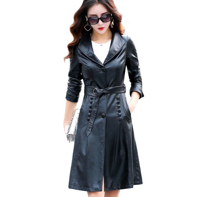 2019 Autumn   Leather   Jacket Women New Coat Female Fashion Solid Turn Collar Single Breasted Button Belt Decoration Women's Jacket