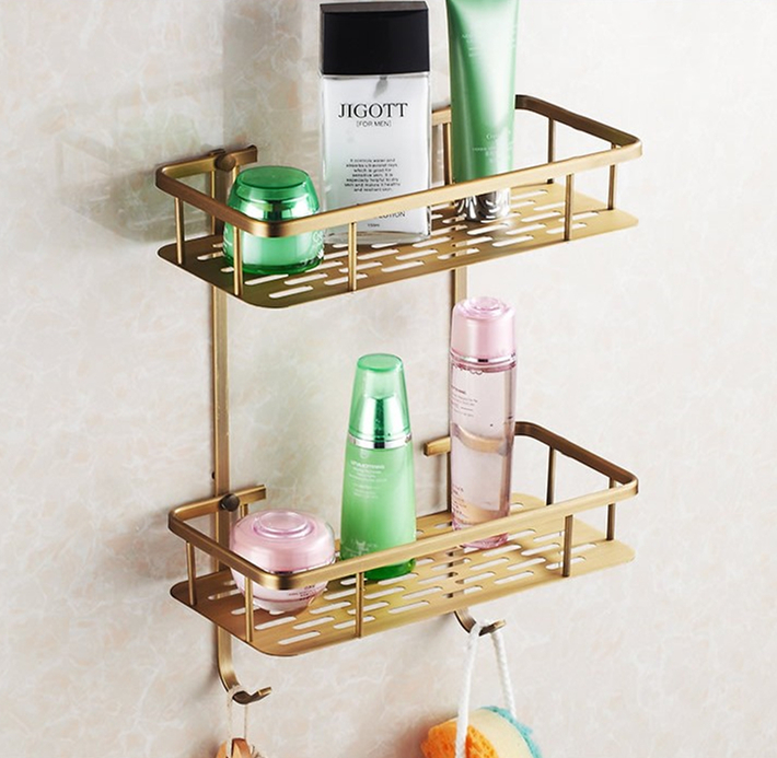 2016  Bathroom Accessories,Wall Mounted Strong Brass Antique Shower shampoo Shelf  Basket Holder/Fashion Bathroom Dual Shelf shampoo holder wall mounted strong brass made and chrome finish single tier bathroom shelf shelves bathroom basket fe 8623