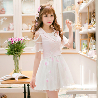 Princess sweet lolita Candy Rain sweet lace thin short sleeved dress C22AB7116