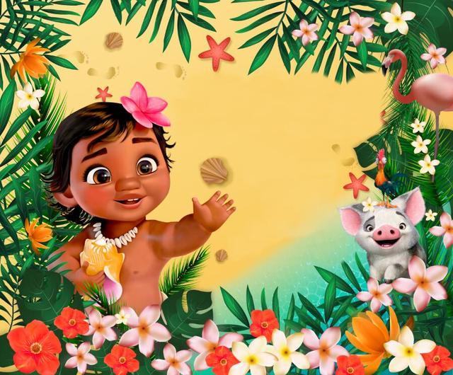 7x5FT Tropical Jungles Baby Moana Princess Custom Photo Studio Background Backdrop Vinyl 220cm x 150cm
