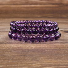 Lingxiang 4/6/8/10mm size purple crystal hand-beaded natural stone bracelet amulet