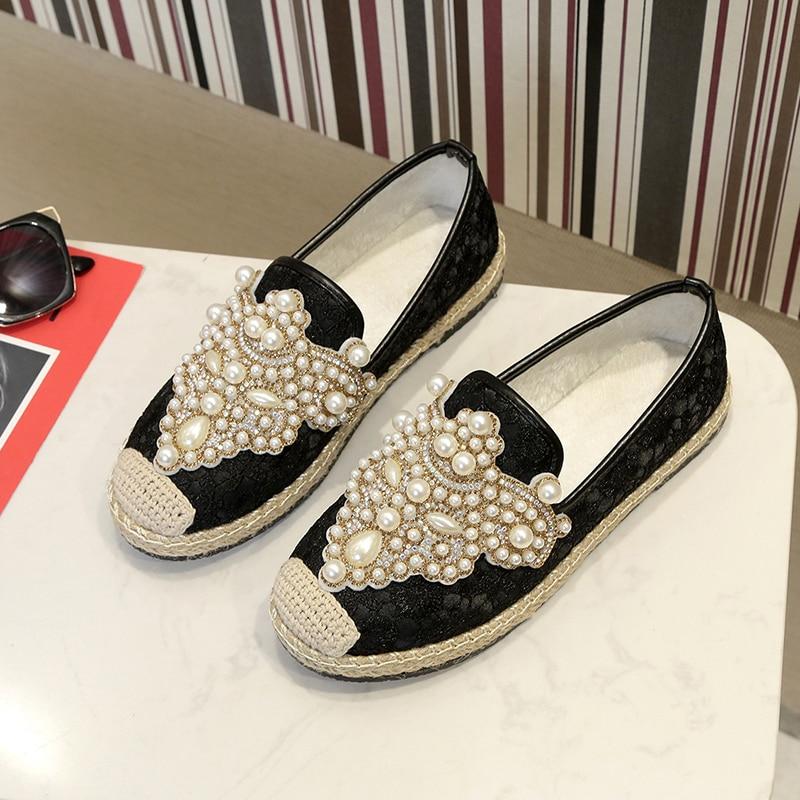Blanc Noir Femmes Mocassins De Mode Pêcheur Chaussures Rond Kjstyrka Designer Dames Bling blanc Perles Noir Marque Bout 2019 Luxe Appartements New x0C7wOf7q