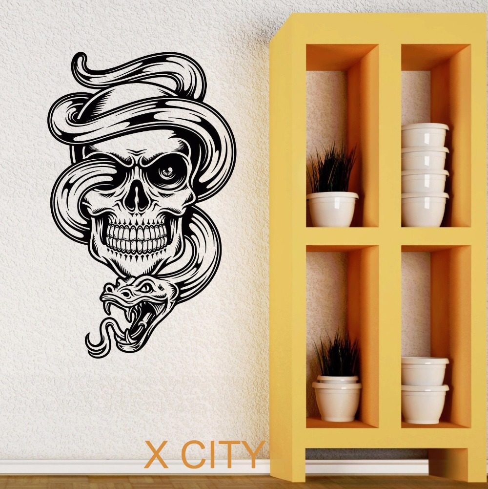 Skull Snake Tattoo Cool Tribal Wall Art Decal Sticker Removable ...