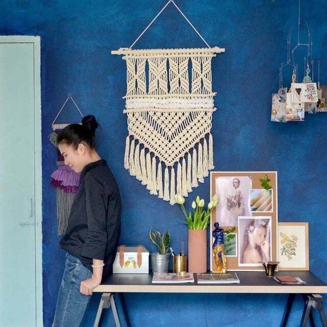 boh me macrame mur art tricot la main tapisserie d coration murale tenture chambre salon de. Black Bedroom Furniture Sets. Home Design Ideas