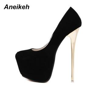 "Image 2 - Aneikeh גדול גודל 41 42 43 44 45 סקסי משאבות חתונה נשים פטיש נעליים גבוהה עקב חשפנית צאן משאבות 16 ס""מ Zapatos Mujer"