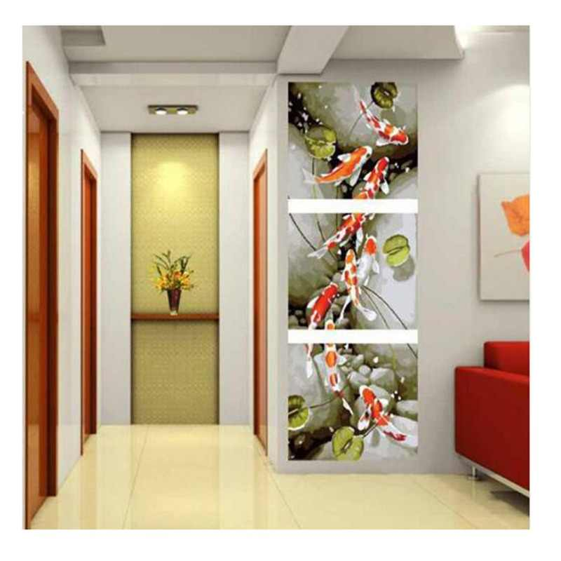 3pc/set Frameless picture on wall Animal design Fish picture diy paint by numbers for lobby decoration 40X50cm q1