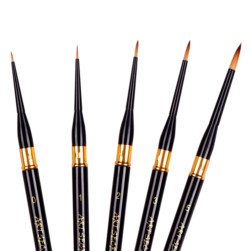 High Quality PBT700GD Gold Taklon Hair Wooden Handle Paint Brushes Artistic Art Painting Brushes 5PC/Set For Watercolor Drawing