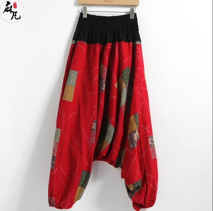 Хлопок случайные личности модные свободные шаровары брюки мужские брюки Хомбре Брюки-Карго ноги брюки для мужчин Pantalon Homme красный