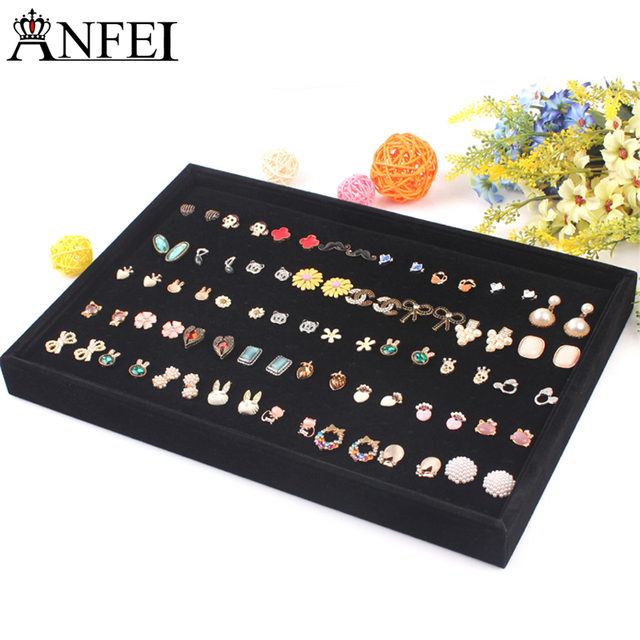 Anfei Black Jewelry Display Ring Tray Stud Earring Plate Organizer Showcase Earrings Shelf Ear