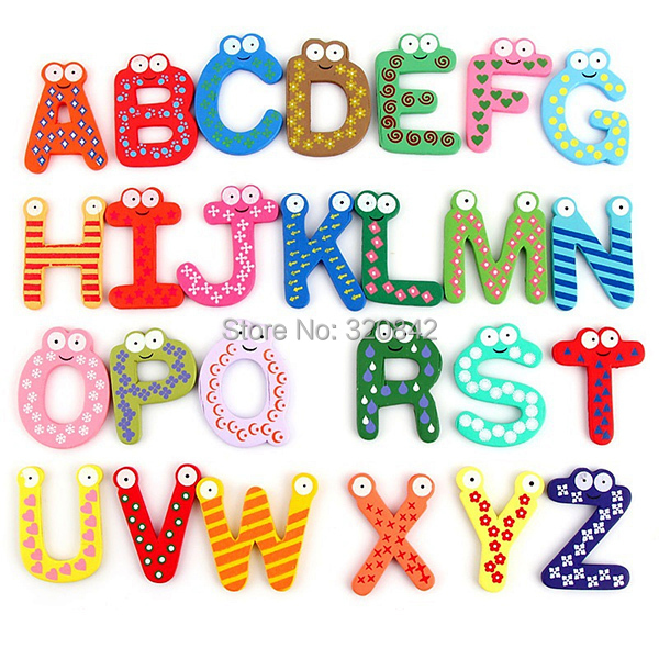 kids educational toy wooden letters stickers alphabet fridge magnet learning magnets the fridge 26 pcs abc