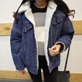 Senhoras de inverno grande código engrossado cordeiros jaqueta de lã denim estudantes de moda de algodão acolchoado jaqueta de roupas plus size veludo de algodão