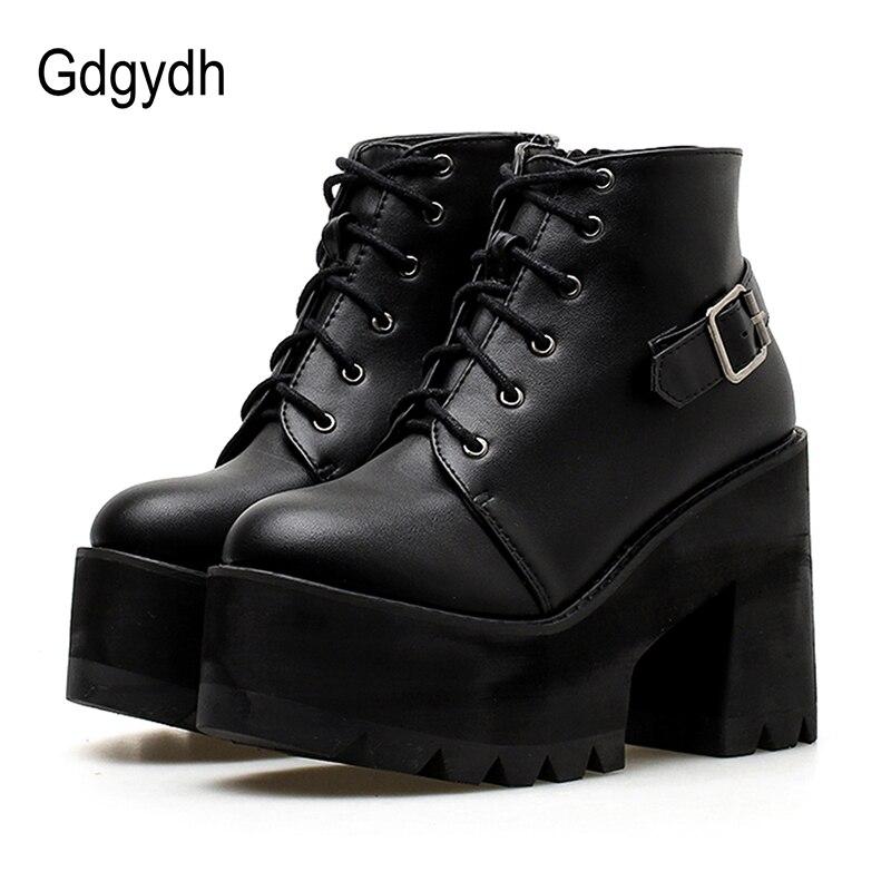 216b35fe Aliexpress.com: Comprar Gdgydh 2018 negro tobillo botines zapatos mujeres  punta redonda plataforma otoño botas gruesos tacones altos cordones y  hebilla ...