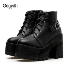 Gdgydhฤดูใบไม้ผลิสีดำข้อเท้าBootiesรองเท้าผู้หญิงรอบToe Platformรองเท้าฤดูใบไม้ร่วงหนารองเท้าส้นสูงLace Upและหัวเข็มขัดสุภาพสตรีรองเท้า