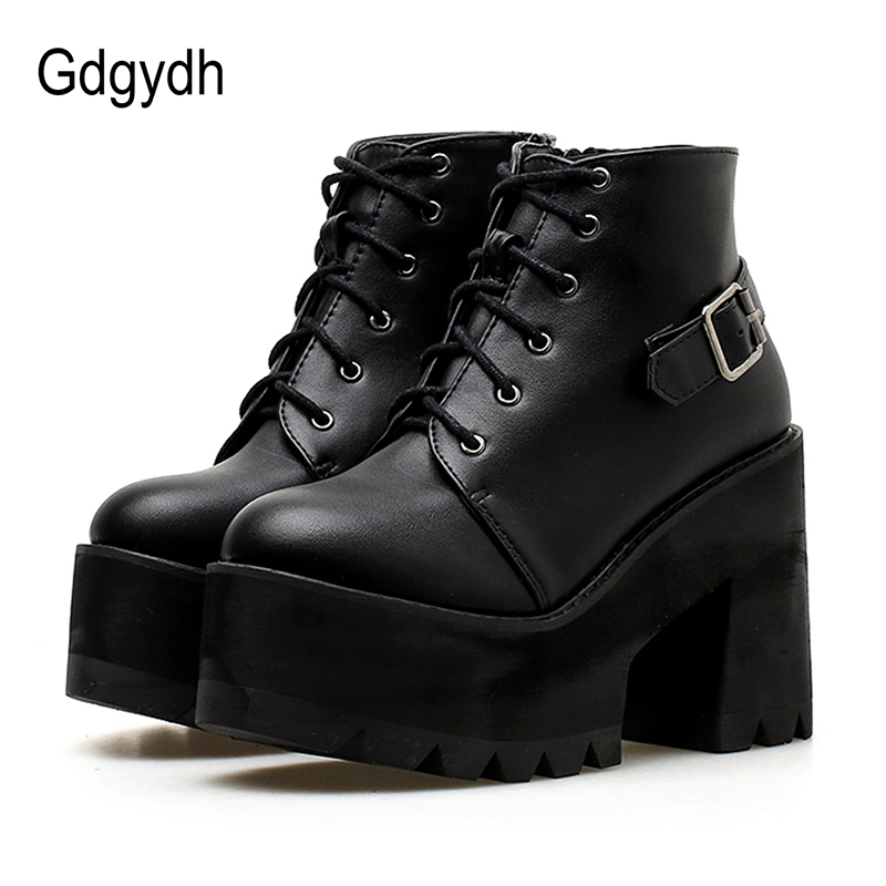 Gdgydh Spring Black Ankle Booties Shoes Women Round Toe Platform Autumn Boots Thick High Heels Lace Up And Buckle Ladies Shoes