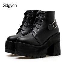 Gdgydh bottines noires pour femme, chaussures pour dames, bout arrondi, à talons hauts épais et à boucles, automne à lacets