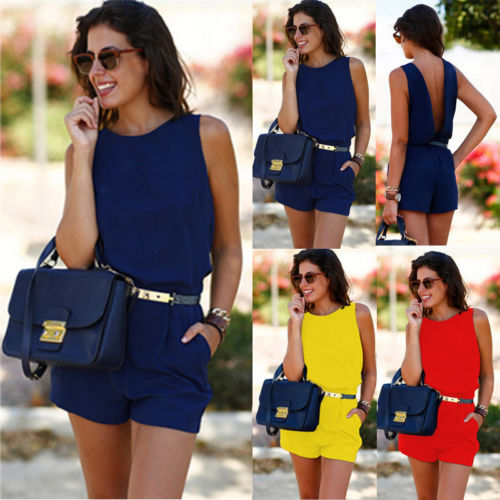 Stylish Hot Simple Women Casual Sleeveless High-waist Backless Playsuits Pockets Sashes Lady Summer Casual Short Bodysuits S-XL