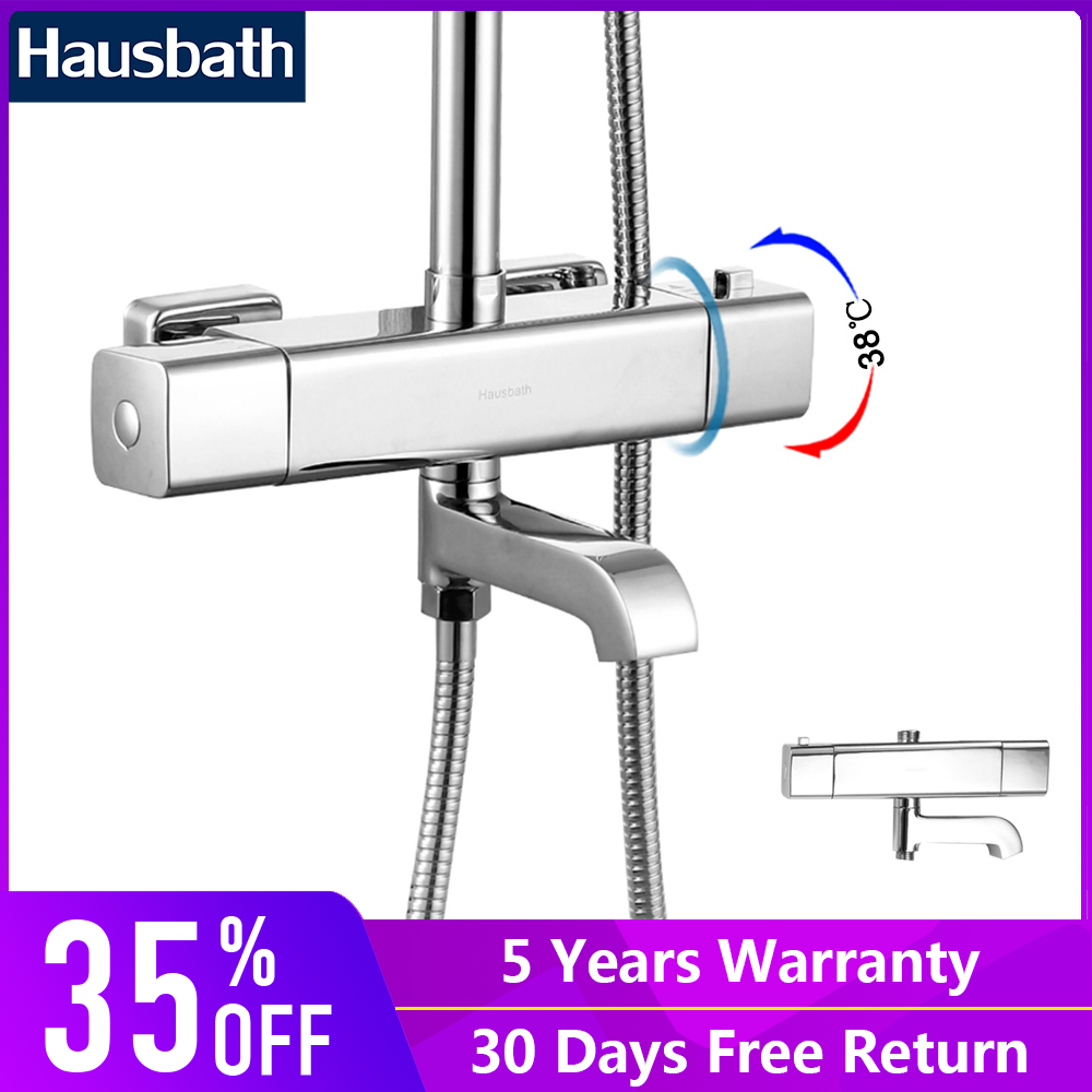 2018 New Arrival Bathroom Shower Faucet Thermostatic Control Wall Mounted Chrome Finished Modern Tap Mixer free shipping new arrival brass chrome bathroom luxury wall mounted thermostatic mixer valve rain shower mixer set