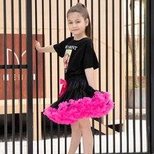 Черная юбка с ярко-розовая юбка для девочек вечерние юбки-пачки для танцев От 0 до 10 лет