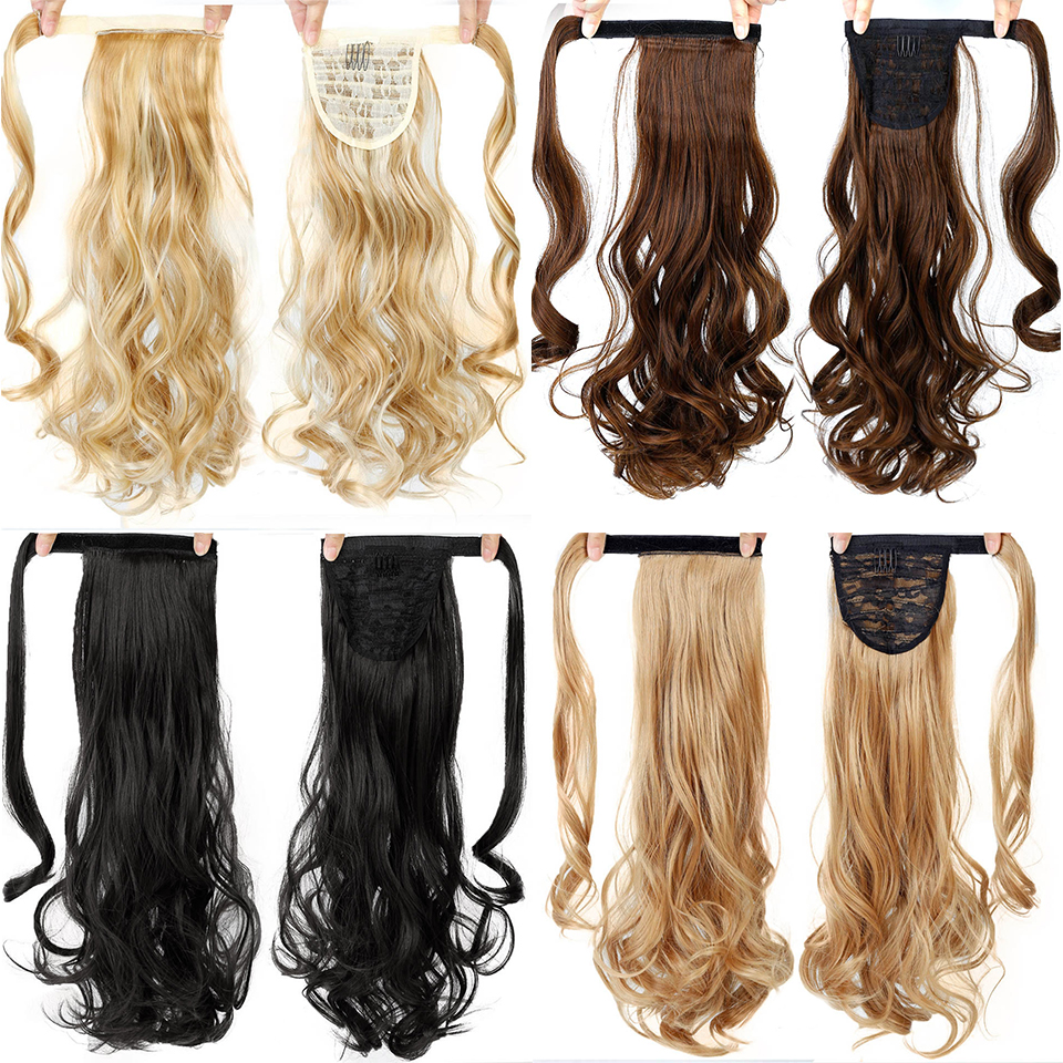 WTB Long Wavy Natural Ponytail High Temperature Fiber Synthetic Wrap Around Hairpiece Pony Tail Hair Extensions 100g