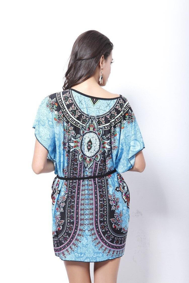 Vintage Dress 2017 New Summer Style Retro Print Boho Loose Casual Dress Bohemian Tunic Beach Dress Vestidos Plus Size Dress 16