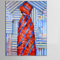 Gentleman Tie Light Blue Striped Shirt Lucky Bright Red Tie Cuboid Shape Oil Painting Sitting Room