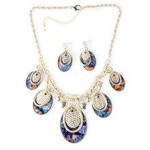 Ms17540 moda marca sistemas de la joyería de la mujer collar del pendiente del encanto del collar de 4 colores nupcial de la alta calidad recién llegado