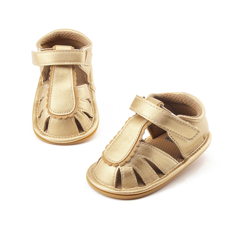 Golden PU Leather Summer Baby Sandals Fashion Purfle Anti-slip Toddlers For 0-18 Months Baby Boy Girl Flat Heels Shoes