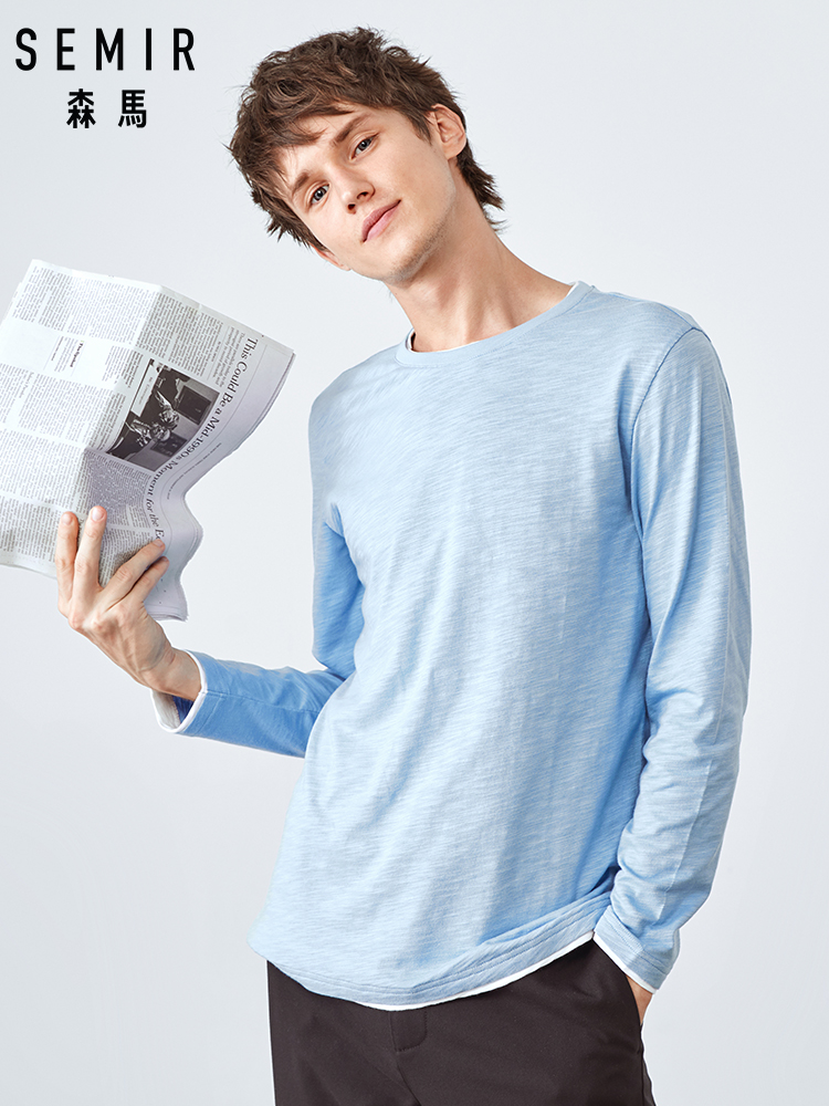 SEMIR Long Sleeve T-shirt Men Spring And Autumn Tshirt Men 2019 Cotton Bottoming Shirt Thin Sectionsolid Color Male Clothing S